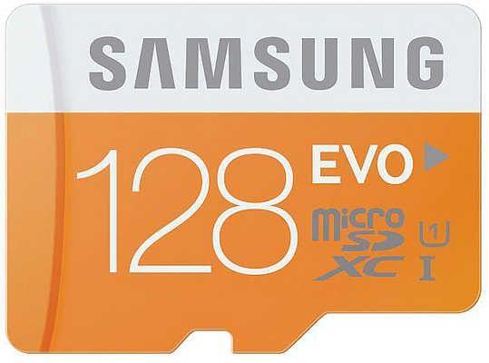 Carte mémoire microSDXC Samsung 128 Go UHS-I EVO avec adaptateur SD