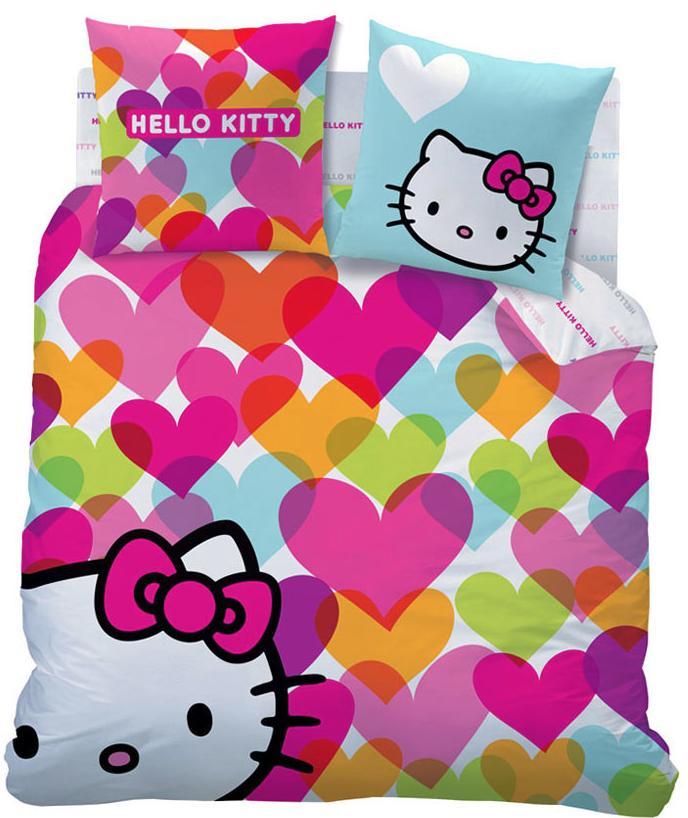 Sélection de draps, parures de couette, serviettes, peignoirs Disney et Hello Kitty en promotion - Ex : Parure Hello Kitty Fuchsia 140x200