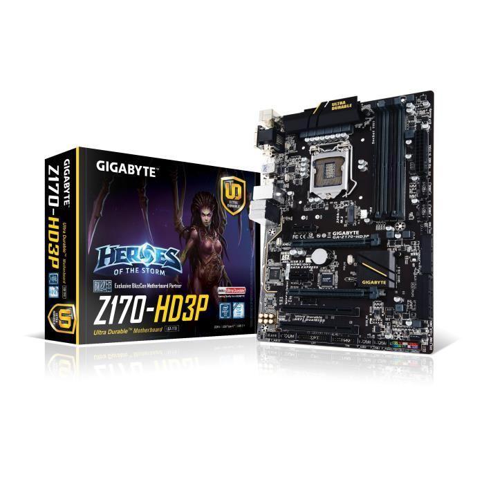 Carte mère Gigabyte GA-Z170-HD3P - LGA 1151, DDR4, USB3.0 & 2.0