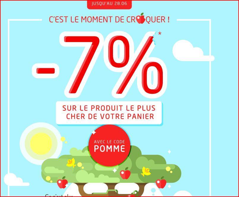 7% de réduction immédiate sur l'article le plus cher du panier