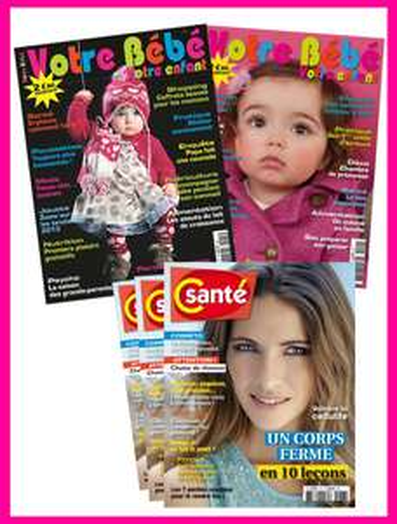 """Abonnement aux magazines """"Votre bébé"""" et """"Côté Santé"""" gratuit (au lieu de 26€)"""