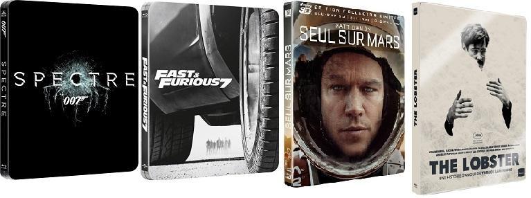 Selection de Blu-Ray (steelbook) en promo - Ex : Seul sur Mars 3D, 007 Spectre, The Lobsters...