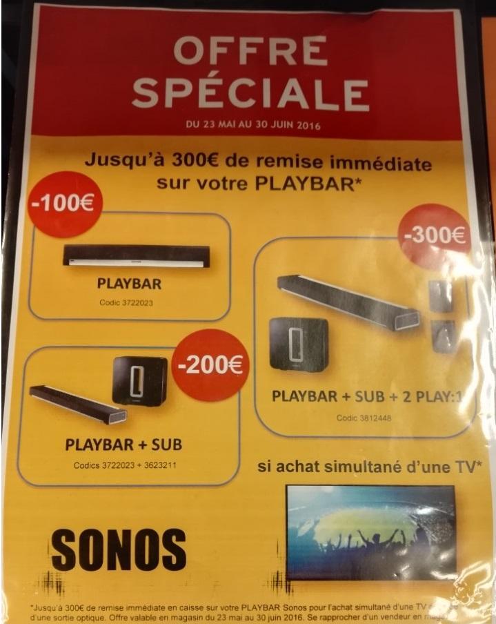 Pour l'achat d'une TV : Sonos Playbar