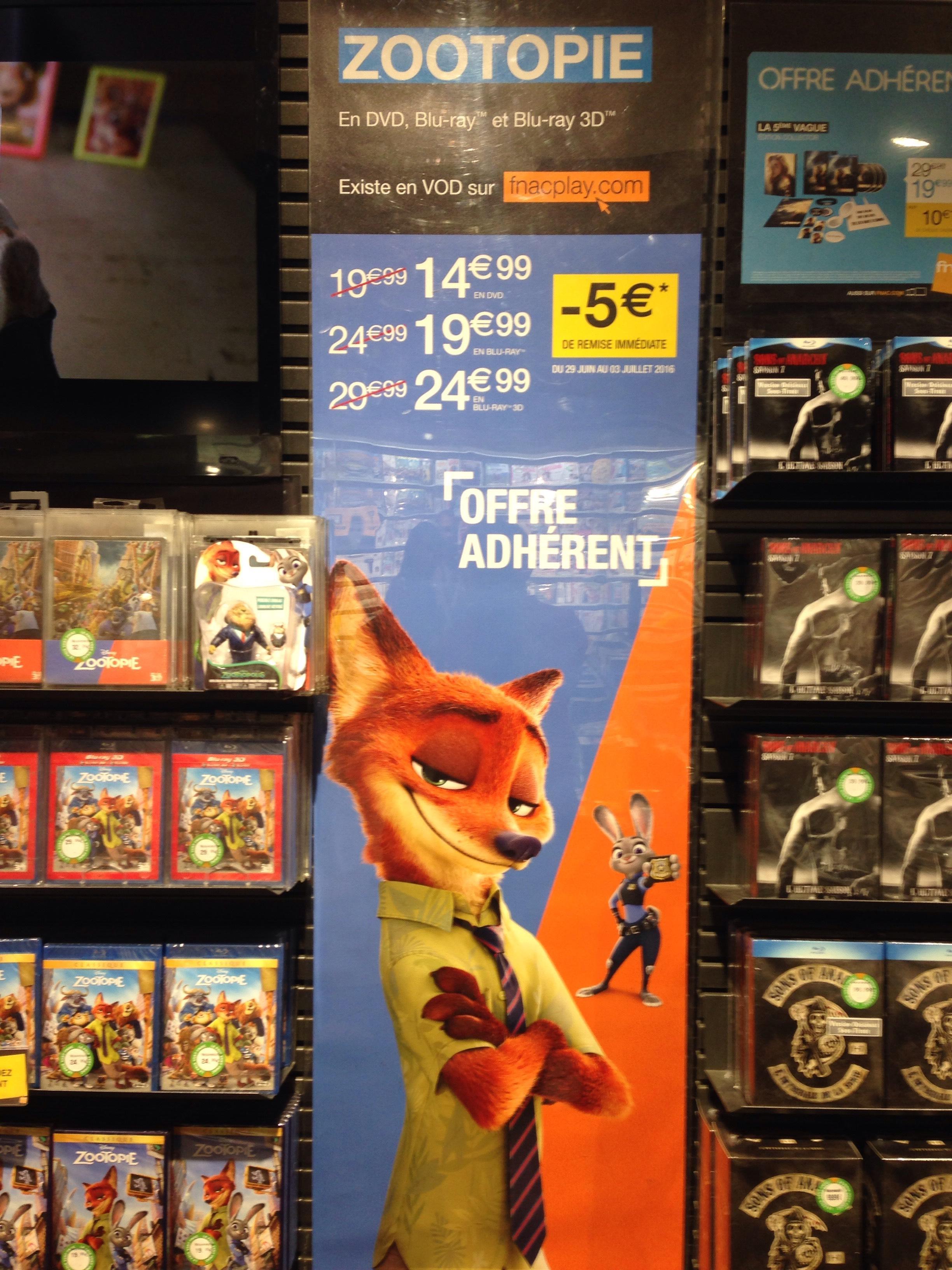 [Adhérents] Zootopie en DVD à 14.99€, Blu-ray à 19.99€ et Blu-ray 3D