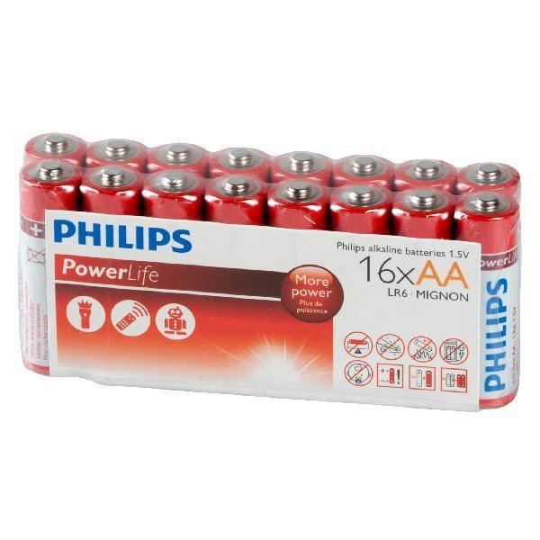 Lot de 16 Piles Philips Powerlife 1.5 Volts LR6/AA