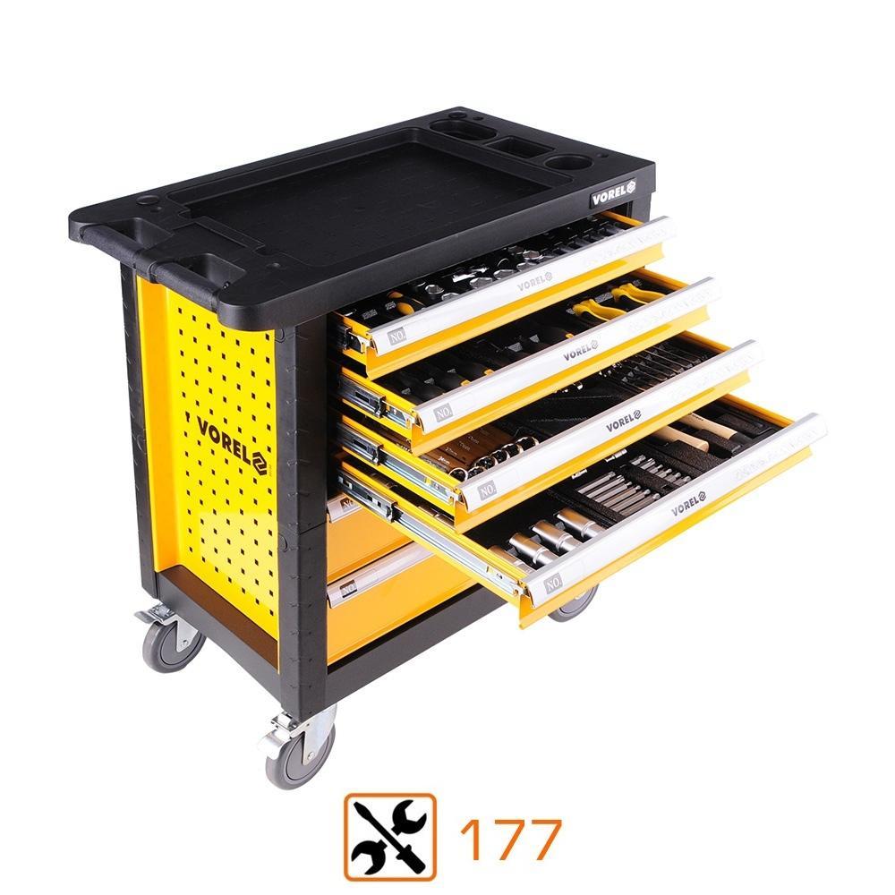 Servante d'atelier Vorel 6 tiroirs + 177 outils