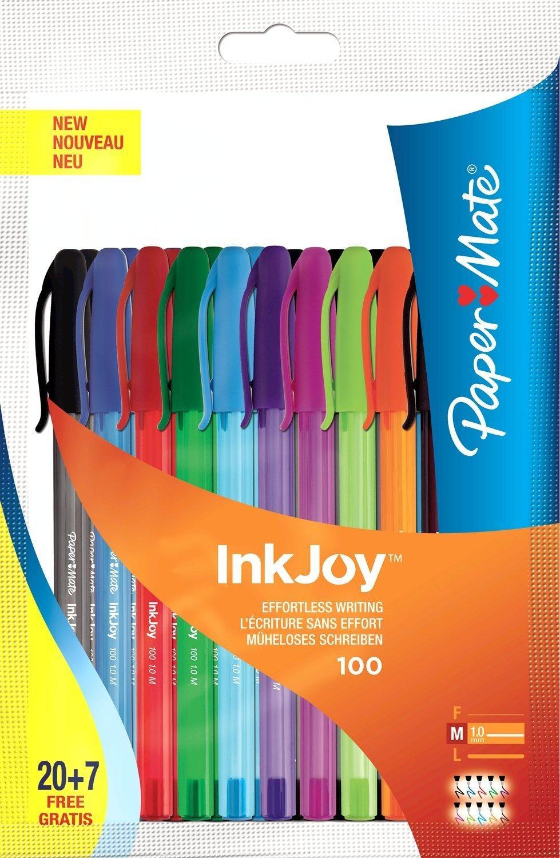 Lot de 27 Stylos billes Papermate Inkjoy 100 Cap