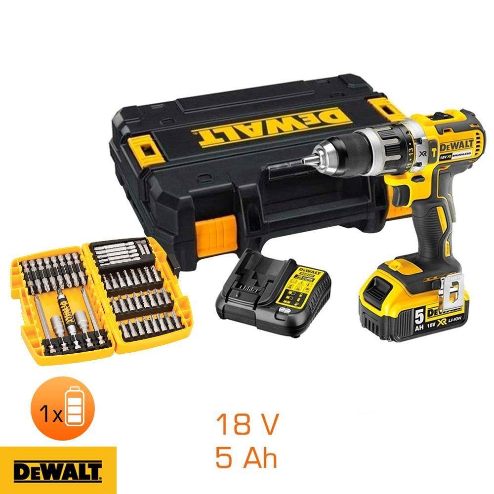 Perceuse à percussion Dewalt DCD796P1 18V + betterie Li-ion 5Ah - 45 accessoires + chargeur