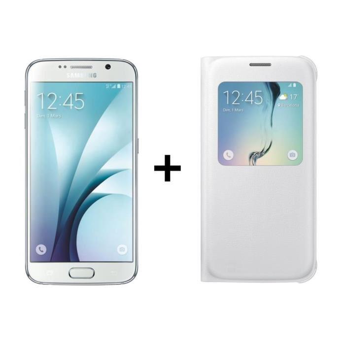 "Smartphone 5.1"" Samsung Galaxy S6 Blanc ou Noir + étui S-view Blanc ou Noir (Via ODR 100€)"