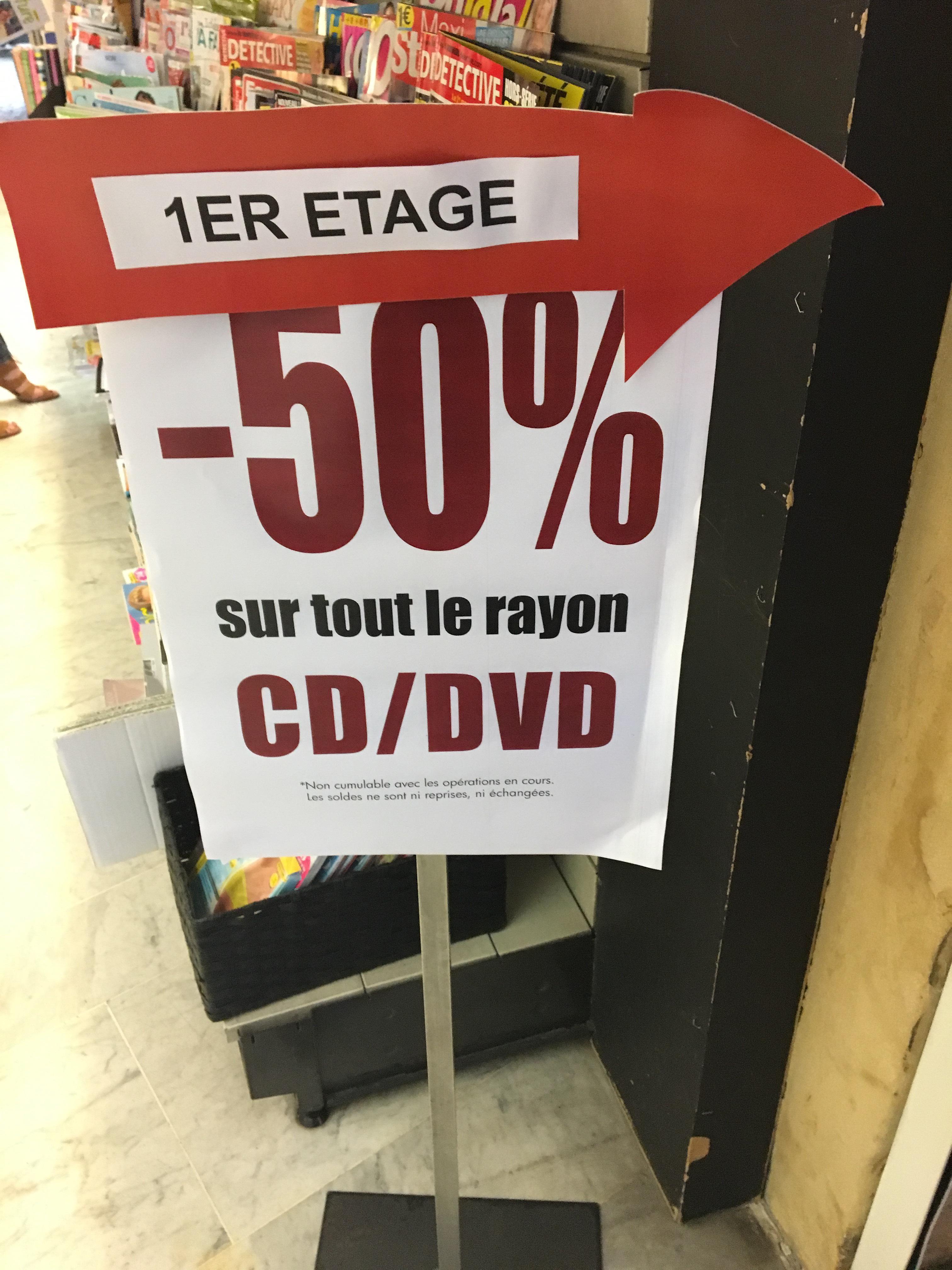 50% de réduction sur les CD/DVD et certains Blu-ray