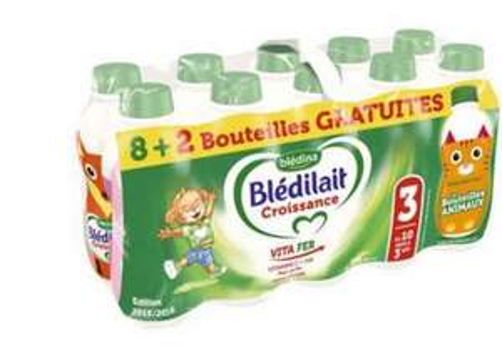Lot de bouteilles de Blédina Blédilait Croissance - 10 x 1L