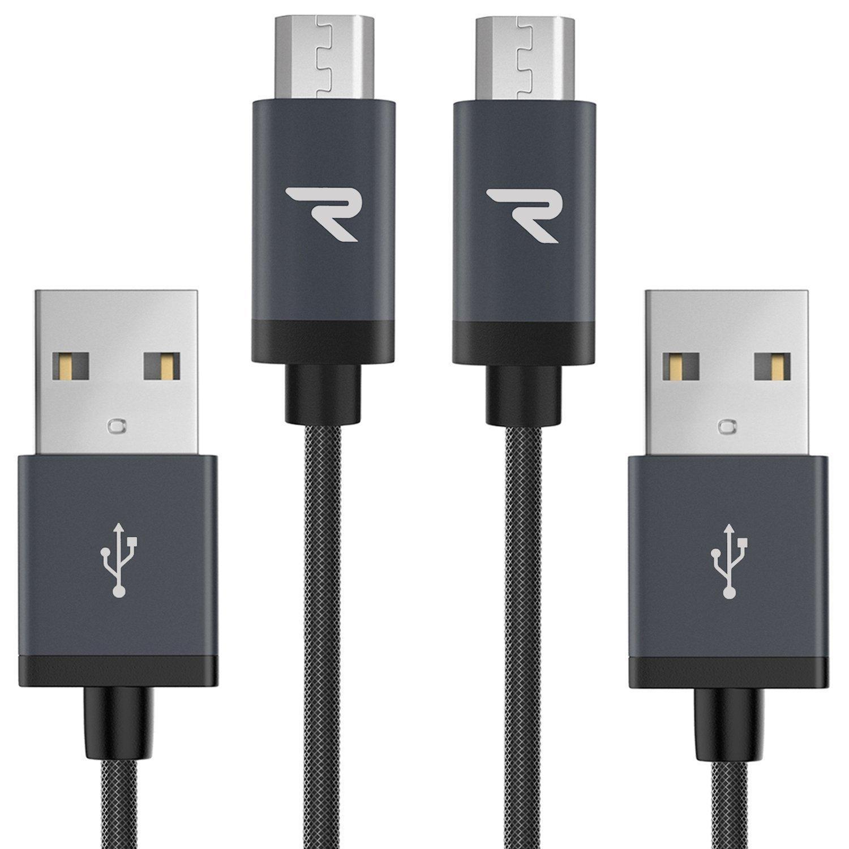 Pack de 2 Câbles microUSB Rampow en nylon tressé anti-noeuds 1m