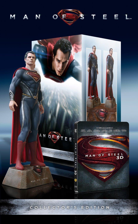 Coffret Blu-ray steelbook Collector : Man of Steel (Blu-ray 3D + Blu-ray + DVD + Statue) - Import allemand