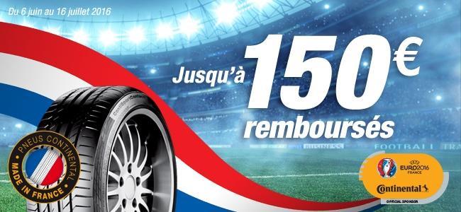 Jusqu'à 150€ remboursés pour l'achat de 4 pneumatiques Continental et 60€ pour 2