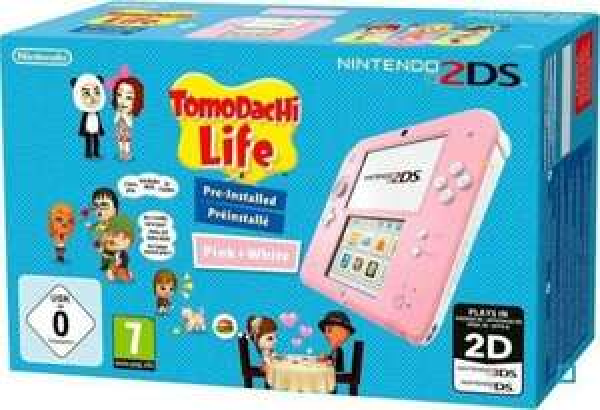 Pack Console Nintendo 2DS Rose + Jeu Tomodachi Life Préinst