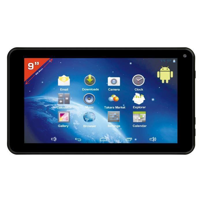 """Tablette 9"""" Takara Noire - Rockchip RK3026, RAM 512 Mo, ROM 4 Go"""