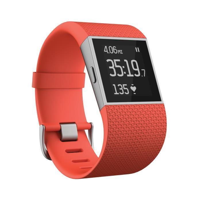 Bracelet connecté GPS Fitbit Surge Tangerine (Tailles S ou L)