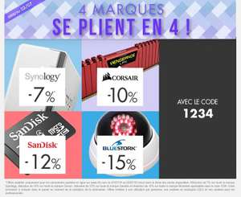 Code réduction de 7% Synology, 10% Corsair, 12% Sandisk et 15% Bluestork