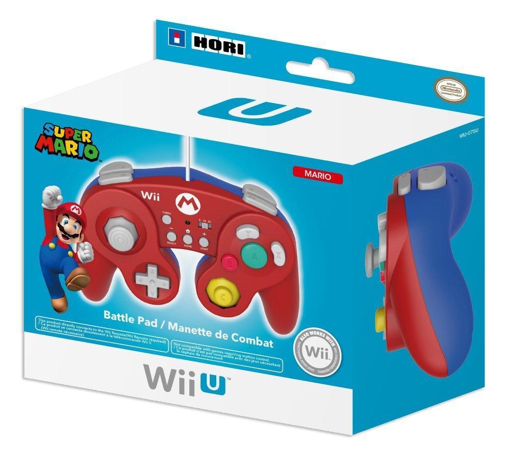 Manette Hori Battle Pad (type Nintendo GameCube) pour Wii U - Luigi ou Mario