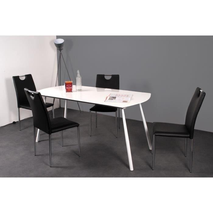 Table à manger extensible Curve (160-200 x 80 cm) Blanc brillant et noir mat