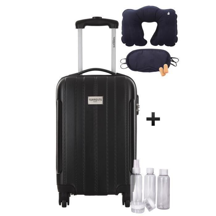 Valise Cabine Torrente Atlas 2 Low Cost Rigide ABS - 4 Roues, 45 cm, Noir + Kit flacons 100ml + Kit confort