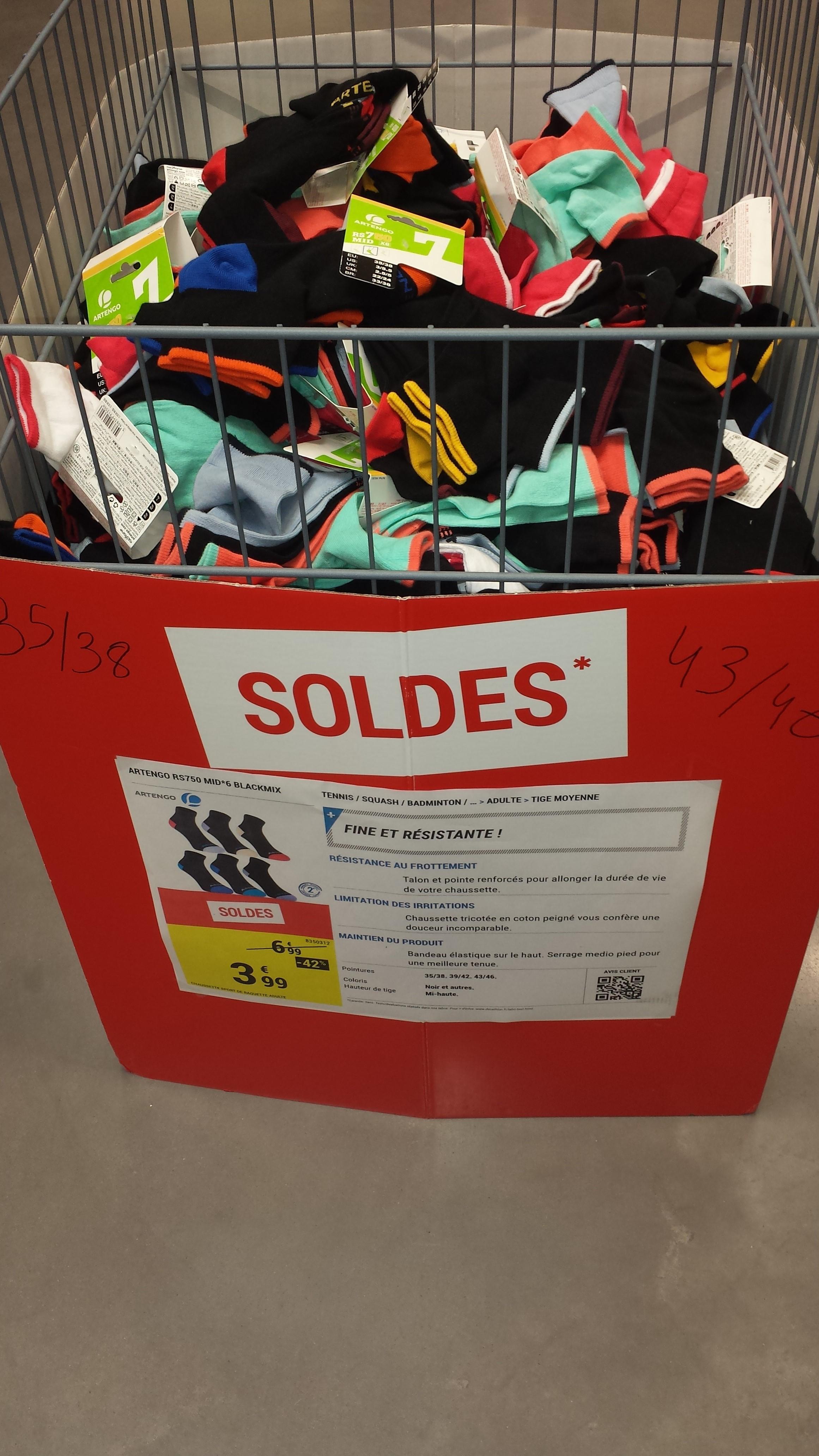 Lot de 6 paires de Chaussettes adultes Artengo RS 750 mi-hautes