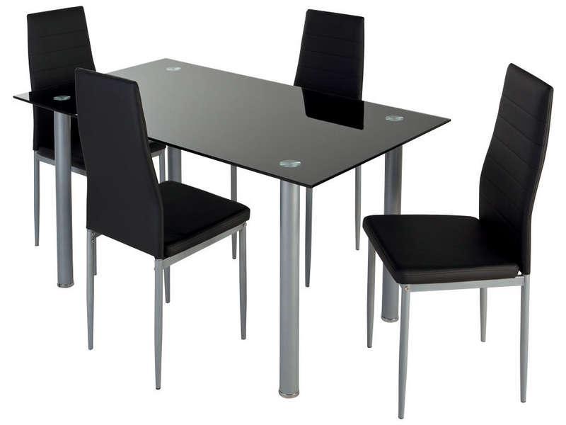 Ensemble table + 4 chaises Featuring (noir)