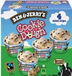 Pack de 4 Mini-pots de glace Ben & Jerry's (via BDR)
