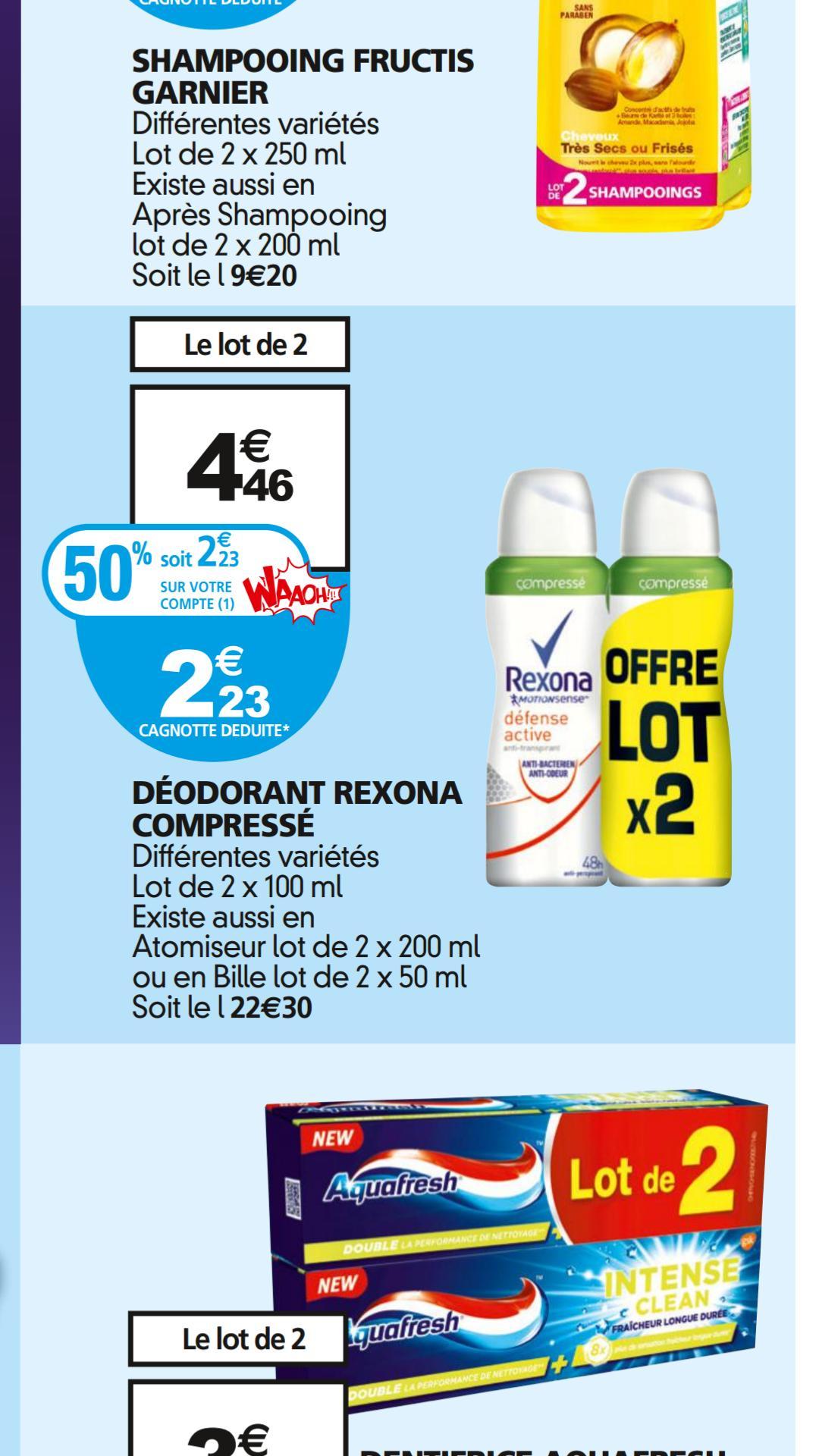 Lot de 2 déodorants Rexona (via carte de fidélité + BDR)