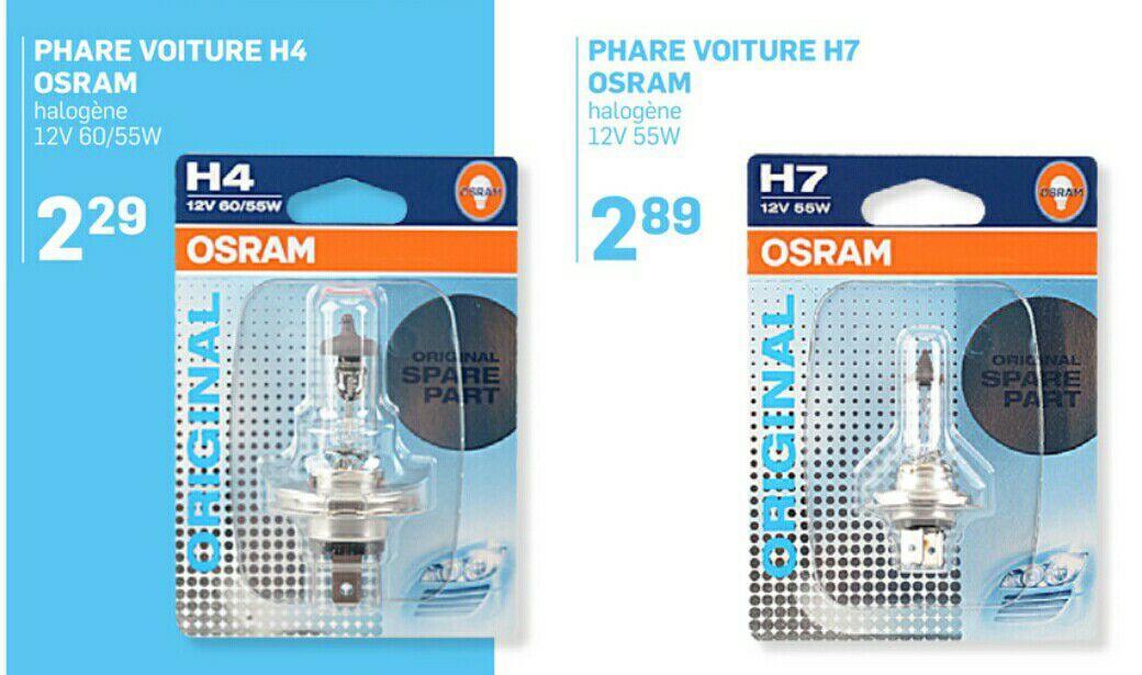 Ampoules halogène Osram pour voiture - H7 à 2.89€ et H4