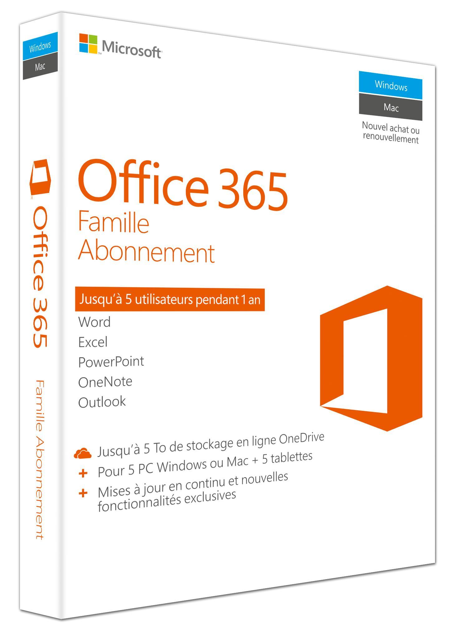Abonnement 1an Office 365 Famille à 65€ TTC(TVA à 0%)