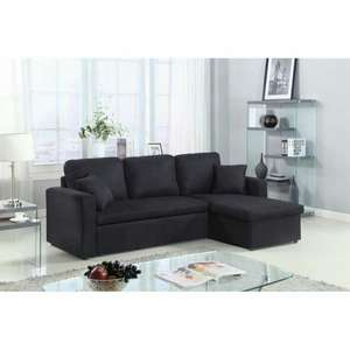 canap d 39 angle convertible en tissu aspen noir. Black Bedroom Furniture Sets. Home Design Ideas