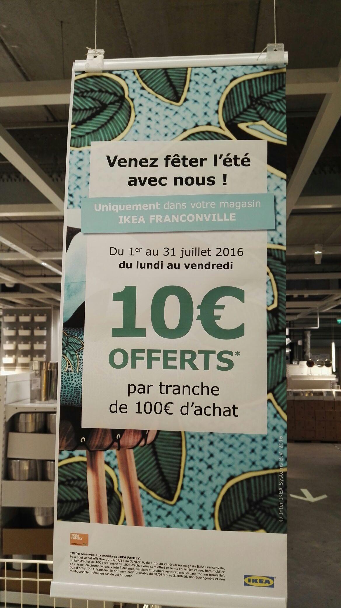 [Ikea Family] 10€ offerts en bon d'achat par tranche de 100€ d'achat