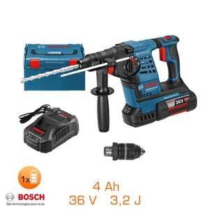 Perforateur burineur Bosch SDS-Plus 36V - 3,2J, 1 bat li-ion 4,0 Ah + Coffret + Chargeur