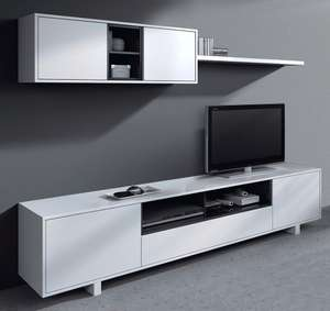 meuble tv mural belus 200 cm noir blanc. Black Bedroom Furniture Sets. Home Design Ideas