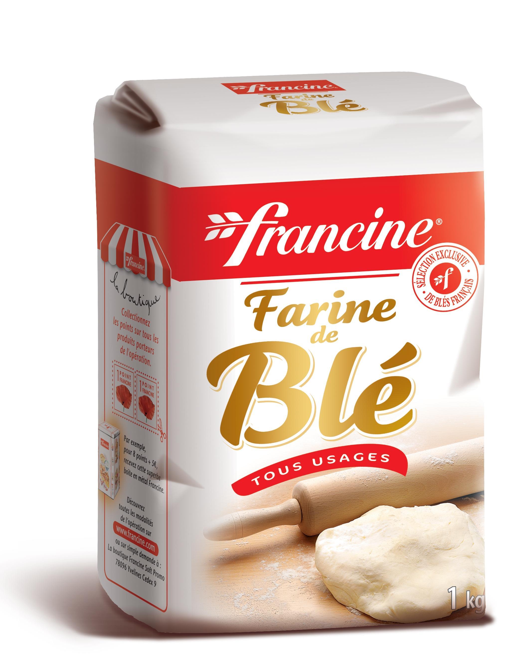 Sachet de farine de blé Francine gratuite - 1 kg (via BDR + Prixing)