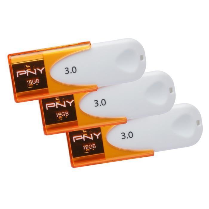 Lot de 3 clés USB 3.0 PNY Attaché 4 - 16 Go