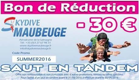 30€  de réduction sur le saut en parachute tandem pour les 50 premiers