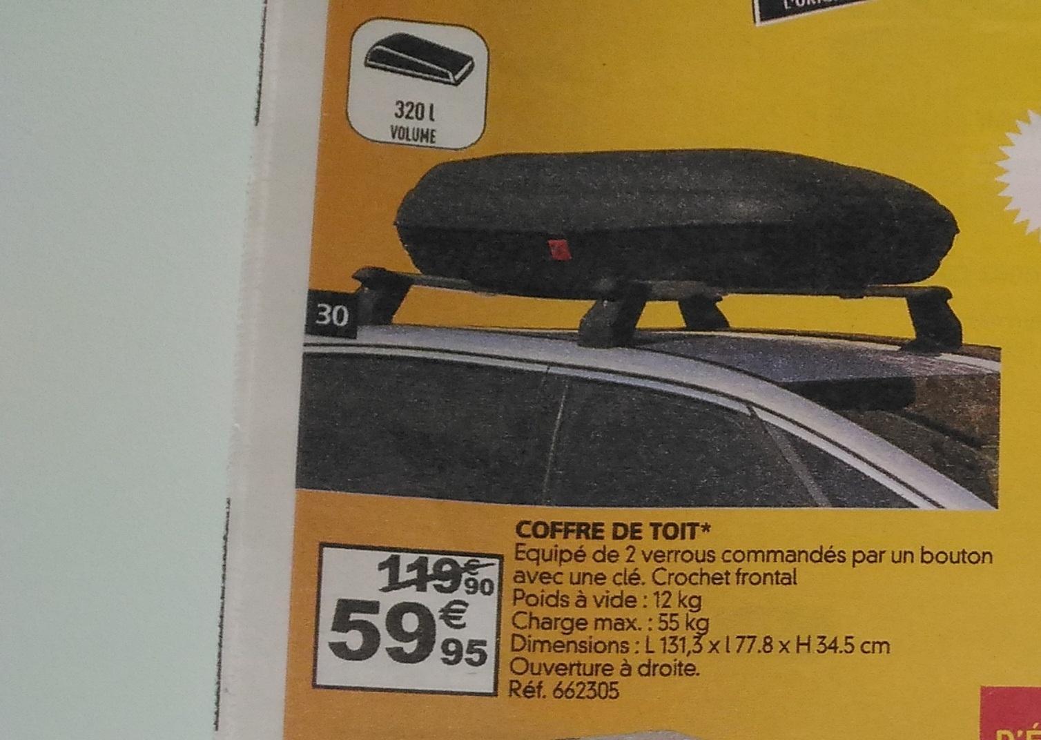 Coffre de toit avec 2 verrous (320L)