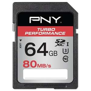 Carte SD PNY Turbo Performance - 80MB/s 64 Go