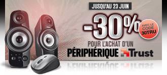-30% sur une sélection de périphériques Trust (Ex. : Clavier et souris Silhouette Wireless Deskset à 13.30€)