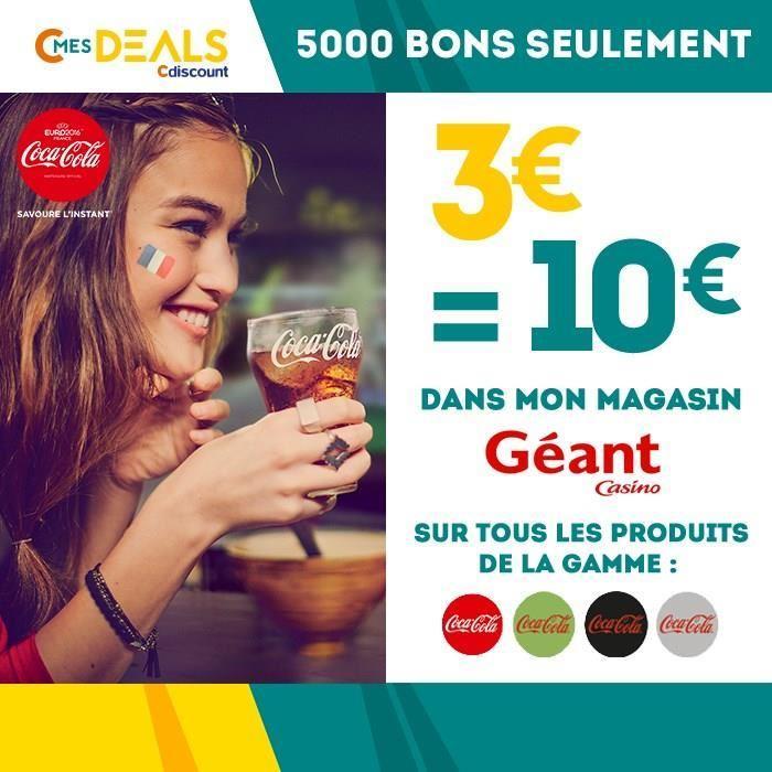 10€ à dépenser sur toute la gamme Coca Cola chez Géant Casino