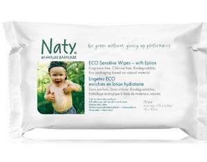 Paquet de 70 Lingettes Naty Eco Enrichies en Lotion Hydratante