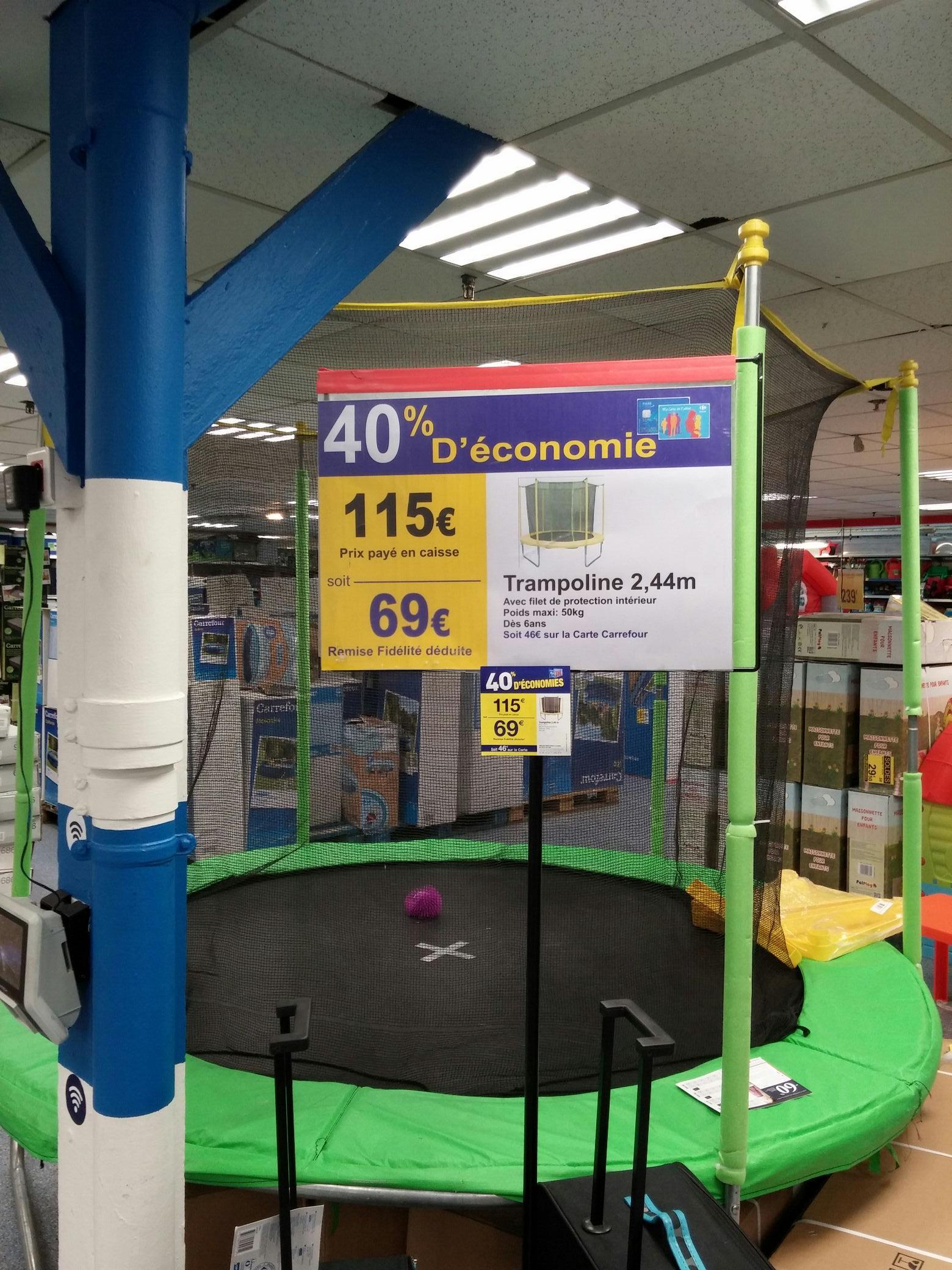 Trampoline avec filet latéral de protection - 2.44m de diamètre (Via carte de fidélité)