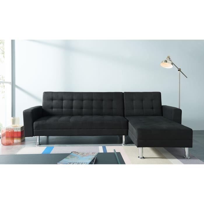 Canapé d'angle réversible en simili et tissu 4 places Orlando