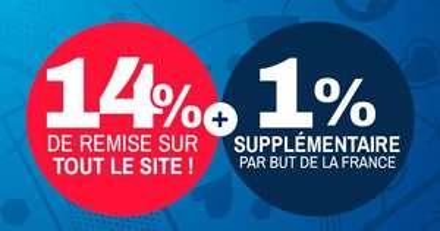14% de réduction sur tout le site (+1% par but de la France)