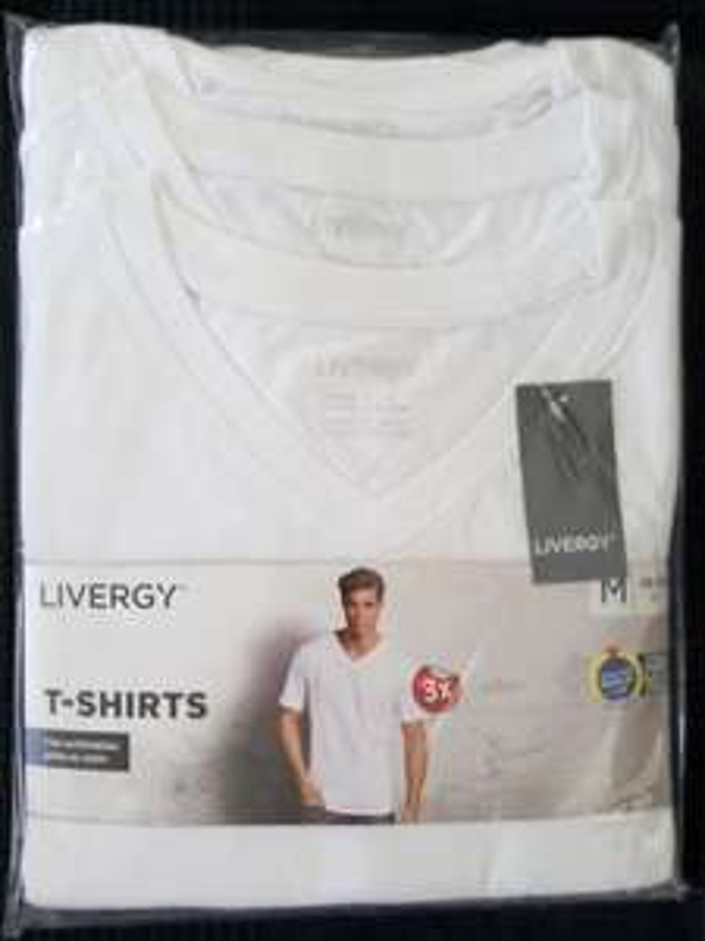 Lot de 3 T-shirts col V Livergy - Blanc ou noir, 100% coton