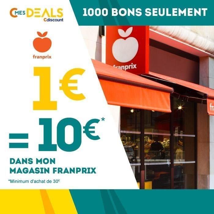 10€ de réduction à valoir dès 30€ d'achat dans les Franprix participants a l'opération