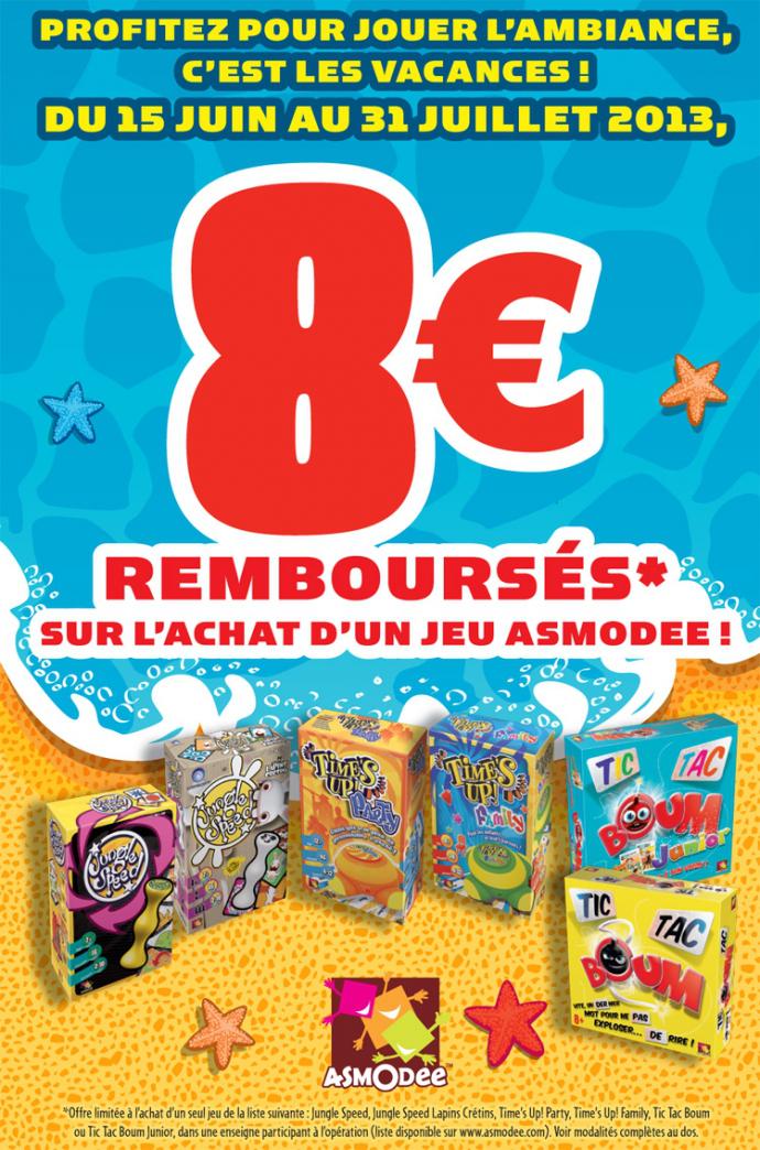Offre de remboursement de 5€ ou 8€ Asmodee