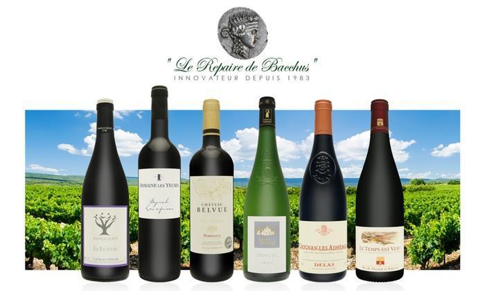 6 bouteilles Sur la route des vins de France